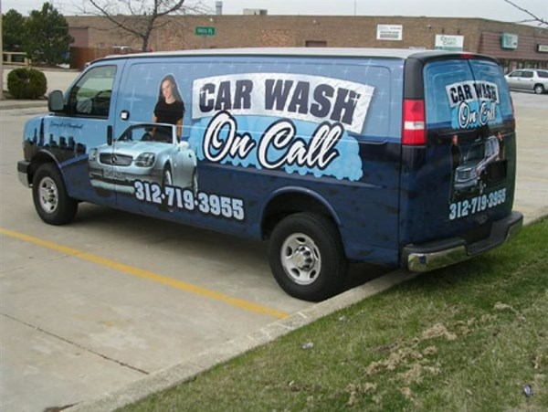 Digitally printed custom vehicle wrap advertisement for the On Call Car Was