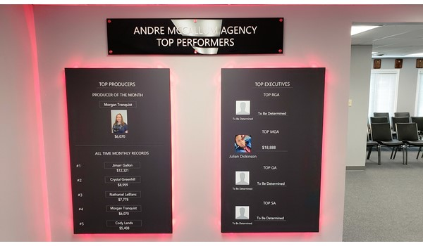 Custom Signs & Signage - LED magnetic Top Performers board - adjustable and changeable