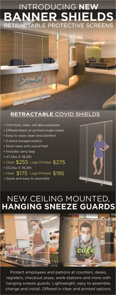 Retractable and hanging COVID guards - light and movable